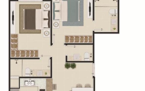 Apartamento com 02 quartos (Suítes) na Praia Brava de Itajaí - SC